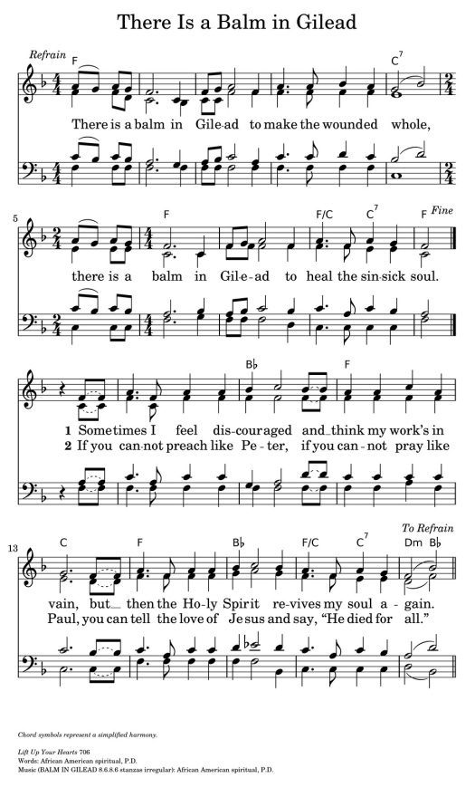 There Is A Balm in Gilead Music Sheet